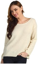 Halston Round Neck Rib Detail Pullover (Cream) - Apparel