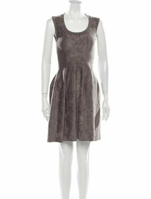 Alaia Scoop Neck Mini Dress Grey