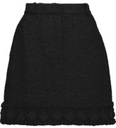 Thom Browne Embellished Macramé-Trimmed Cotton-Blend Tweed Mini Skirt