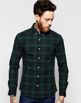 Asos Skinny Blackwatch Check Shirt In Navy