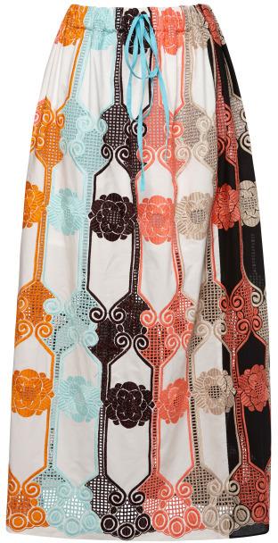 MSGM Floral Macrame Lace Long Skirt