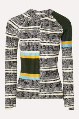 Victoria Beckham Striped Ribbed Cotton-blend Sweater - Black