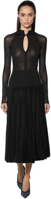 Victoria Beckham Pleated Sheer Knit Midi Dress