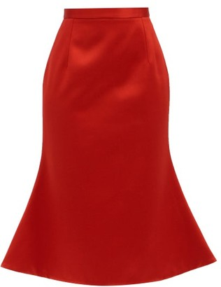 Christopher Kane High-rise Flared Satin Midi Skirt - Red