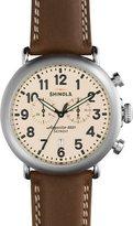 Shinola 47mm Runwell Chronograph Leather Watch, Dark Nut