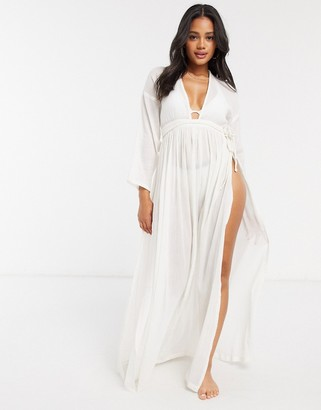 ASOS DESIGN plunge long sleeve boho maxi beach dress in natural ivory crinkle