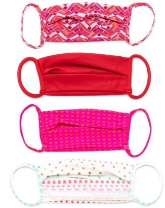 AMIR SLAMA Geometric Print Face Masks (Pack Of 4)