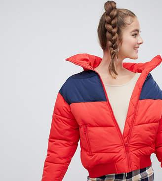 Monki short puffer jacket in red-Blue