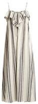 Three Graces London Mirinda Striped Linen And Cotton-blend Dress