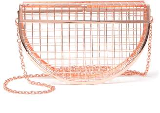 Pink Haley Emerson Metallic Wire Clutch
