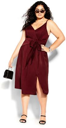 City Chic Dreaming Dress - pomegranate
