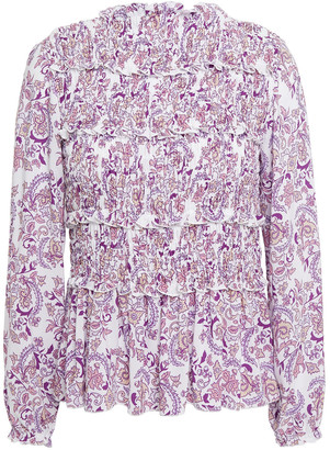 See by Chloe Ruffle-trimmed Shirred Printed Crepe De Chine Blouse