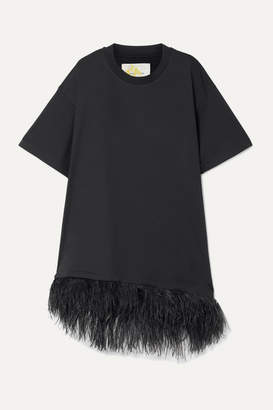 Marques Almeida Feather-trimmed Cotton-jersey Mini Dress