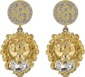 Gucci Lion head earrings with Interlocking G