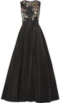 Oscar de la Renta Embellished Silk-faille Gown - Black