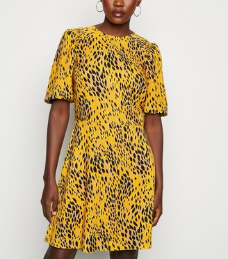 New Look Animal Print Shirred Sleeve Tea Dress