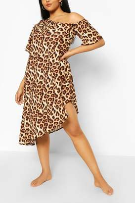 boohoo Plus Off The Shoulder Leopard Beach Dress