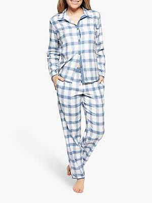 Cyberjammies Harper Check Pyjama Set, White/Navy