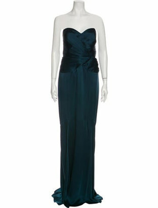 Andrew Gn Strapless Long Dress Green