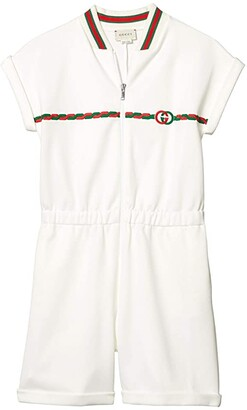 Gucci Kids Technical Jersey w/ GG Embroidered Overall (Little Kids/Big Kids) (White/Multicolor) Girl's Jumpsuit & Rompers One Piece