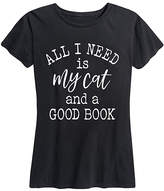 Instant Message Women's Women's Tee Shirts BLACK - Black 'All I Need is My Cat and a Good Book' Relaxed-Fit Tee - Women