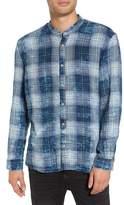 John Varvatos Check Band Collar Sport Shirt
