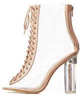 Charlotte Russe Clear Lace Up Lucite Heel Booties