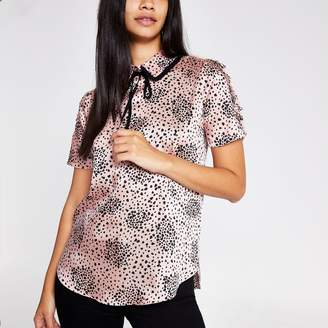 River Island Womens Pink heart print bow neck shell top