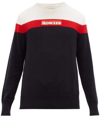 Moncler Crew Neck Colour Block Wool Sweater - Mens - Navy Multi