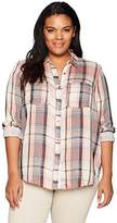 Lucky Brand Women's Plus Size Plaid Shirt In Pink Multi