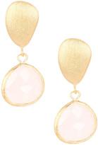 Rivka Friedman 18K Gold Clad Faceted Rose Quartz Teardrop Satin Pebble Post Earrings