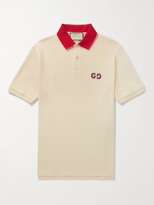 Gucci Logo-Embroidered Stretch-Cotton Pique Polo Shirt
