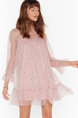 Nasty Gal Womens Sparkly Tiered Mesh Mini Dress - Pink