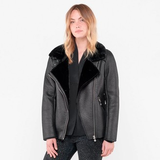 Le Temps Des Cerises Faux Fur Leather Jacket with Faux Sheepskin Lining and Pockets