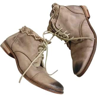 Free People Beige Leather Ankle boots