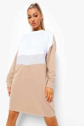 boohoo Tall Colourblock Sweatshirt Dress