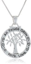 """Amazon Collection Sterling """"All Things Grow with Love"""" Reversible Family Tree Pendant Necklace, 18"""""""