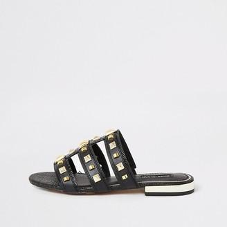 River Island Black studded caged sandals