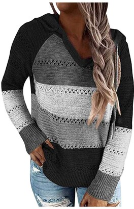 DIYAGO Hoodie for Women UK Plus Size Long Sleeves Stitching Color Block Striped Hollow Drawstring Loose Fashion Casual Sweet Sweatshirts Tops Pullover Black