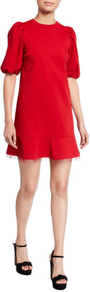 RED Valentino Puff-Sleeve Ruffle-Hem Jersey Dress