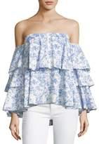 Caroline Constas Carmen Off-the-Shoulder Printed Blouse, Blue/White