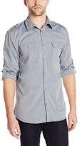 DKNY Men's Long Sleeve Roll Tab Yarn Dye End-On-End Chambray Shirt-Garmen