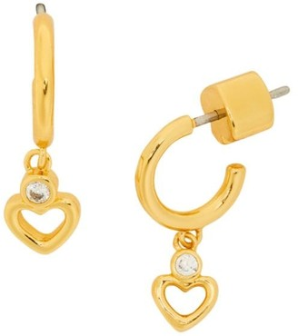 Kate Spade Goldtone & Cubic Zirconia Open Heart Drop Huggie Hoop Earrings