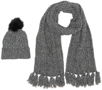Steve Madden Cozy Marled Faux Fur Pompom Beanie & Cable Knit Scarf 2-Piece Set