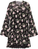 Ulla Johnson Floral-print Ruffled Silk-crepon Mini Dress - Black