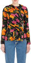 Balenciaga Women's Floral Ruched Tech-Jersey Peplum Top
