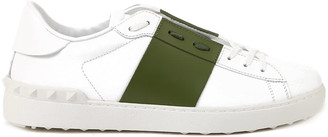 Valentino Open Sneakers In Leather With Contrasting Band