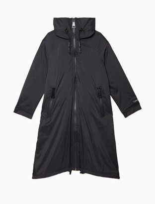 Calvin Klein Solid Nylon Logo Zip Hooded Raincoat