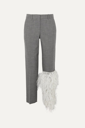 Loewe Feather-trimmed Wool Straight-leg Pants - Gray