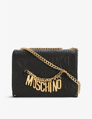 Moschino Smiley-logo leather shoulder bag